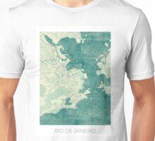 Rio de Janeiro Map Blue Vintage Unisex T-Shirt