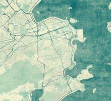 Rio de Janeiro Map Blue Vintage Sticker