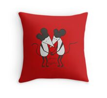 mouse, little mouses, mouses, cartoon, love, couple, mouse in love, vector, friends Throw Pillow