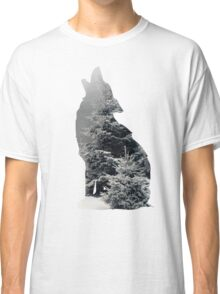Wolf Silhouette Print Classic T-Shirt