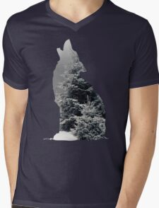 Wolf Silhouette Print Mens V-Neck T-Shirt