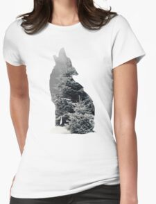 Wolf Silhouette Print Womens Fitted T-Shirt