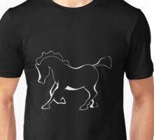 Horse or pony in white for dark materials. Unisex T-Shirt