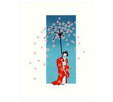 Spring Snow Parasol Art Print
