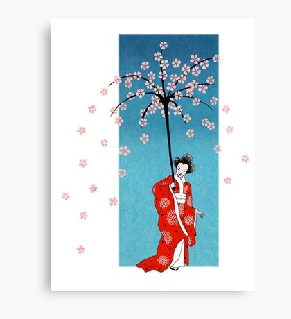 Spring Snow Parasol Canvas Print