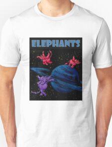 Space Elephants Over Saturn Unisex T-Shirt