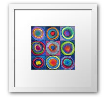 Circles - abstract watercolour Framed Print
