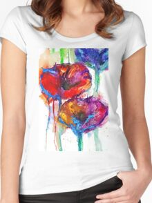 Poppy Petals Women's Fitted Scoop T-Shirt