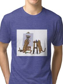 Artists at Work .. March Cats Tri-blend T-Shirt