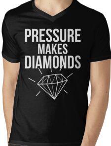 Pressure Makes Diamonds - Script Typography Mens V-Neck T-Shirt