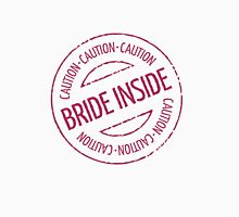 Bride Inside Caution Stamp (Hen Party / Magenta) Womens Fitted T-Shirt