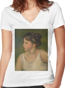 Auguste Renoir - Bust of a Woman  1895 Women's Fitted V-Neck T-Shirt