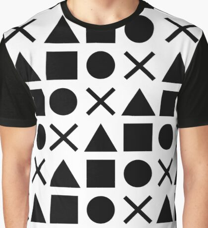Gamer Pattern Solid Black on White Graphic T-Shirt