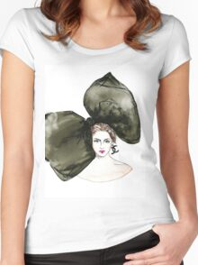Big Bow - watercolor Illustration - woman portrait  Women's Fitted Scoop T-Shirt