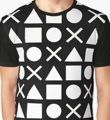 Gamer Pattern Solid White on Black Graphic T-Shirt
