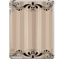 Blond Wood Texture Planks With Black Swirly Lace iPad Case/Skin