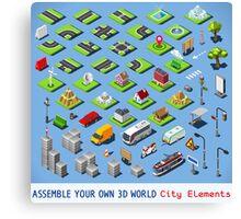 City-01-COMPLETE-Set-Isometric Canvas Print