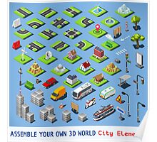 City-01-COMPLETE-Set-Isometric Poster