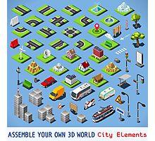 City-01-COMPLETE-Set-Isometric Photographic Print