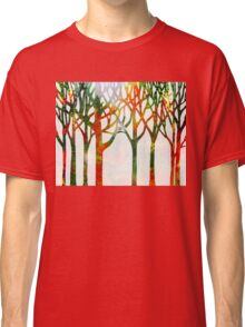 Watercolor Splashes Forest Silhouette Fall Classic T-Shirt