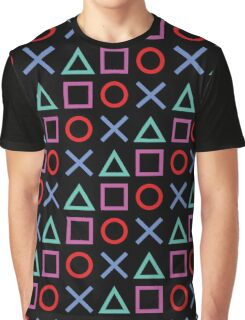 Gamer Pattern Black Graphic T-Shirt