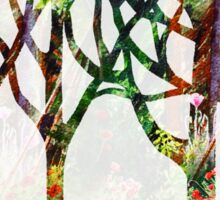 Watercolor Splashes Forest Silhouette Summer Sticker