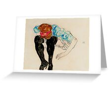 Egon Schiele - Blond Girl, Leaning forward with Black Stockings 1912 Greeting Card