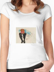 Egon Schiele - Blond Girl, Leaning forward with Black Stockings 1912 Women's Fitted Scoop T-Shirt