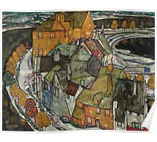 Egon Schiele - Crescent of Houses II Island Town 1915 Poster