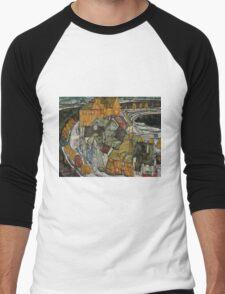 Egon Schiele - Crescent of Houses II Island Town 1915 Egon Schiele   Landscape Men's Baseball ¾ T-Shirt