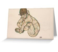 Egon Schiele - Crouching Nude Girl 1914  Egon Schiele  Woman Portrait Greeting Card