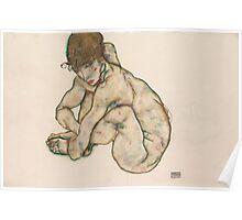 Egon Schiele - Crouching Nude Girl 1914  Egon Schiele  Woman Portrait Poster