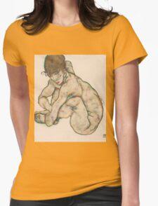 Egon Schiele - Crouching Nude Girl 1914  Egon Schiele  Woman Portrait Womens Fitted T-Shirt
