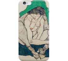 Egon Schiele - Crouching Woman with Green Headscarf 1914 iPhone Case/Skin