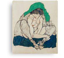 Egon Schiele - Crouching Woman with Green Headscarf 1914  Fashion Sexy  Woman Canvas Print