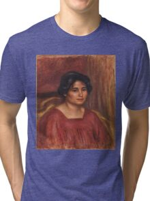 Auguste Renoir - Gabrielle in a Red Dress 1908 ,Woman Portrait , Auguste Renoir Tri-blend T-Shirt