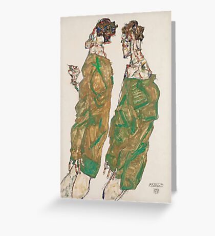 Egon Schiele - Devotion 1913 ,  Man Portrait , Egon Schiele  Greeting Card