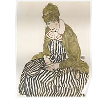 Egon Schiele - Edith with Striped Dress, Sitting 1915, woman Egon Schiele  Poster