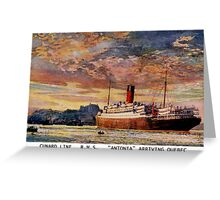 Vintage Cunard Line RMS Antonia arriving Quebec Greeting Card
