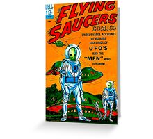 Retro Vintage Comic Book Cover Flying Saucers no.1, UFO Greeting Card