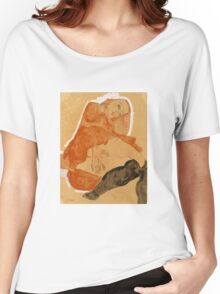 Egon Schiele - Girl in Red Robe and Black Stockings 1911  Egon Schiele  Woman Portrait Women's Relaxed Fit T-Shirt