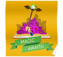 Fantasy Book with Magic Staff Poster