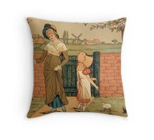 Kate Greenaway Mother and child Victorian illustration Throw Pillow