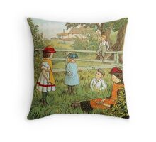 Victorian summer, children playing in the grass Throw Pillow