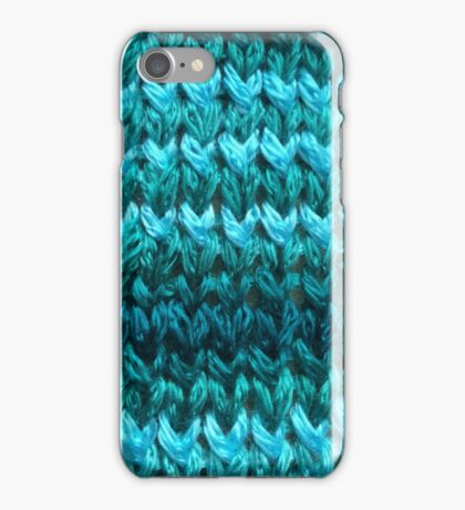 Teal Knit Pattern iPhone Case/Skin