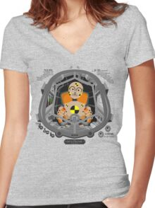 Piloted by a dummy Women's Fitted V-Neck T-Shirt