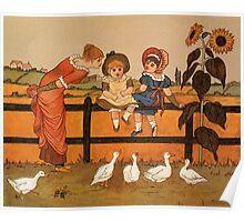 Victorian woman children ducks Kate Greenaway Poster