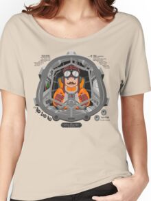 Piloted by a guy with a mustache Women's Relaxed Fit T-Shirt