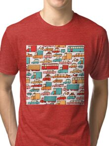 Cartoon seamless car pattern Tri-blend T-Shirt