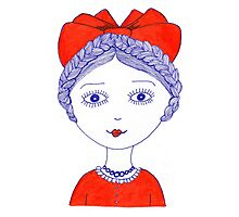 Girl with red bow Photographic Print